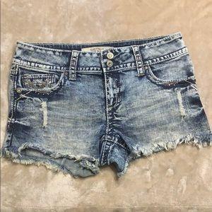 Hydraulic Shorts. Thick stitch with Rhinestones